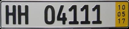 Kurzzeitkennzeichen HH 04111 10/5/17.