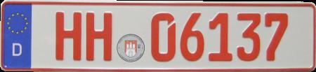 Rote Autoschilder für Probe und Überführungsfahrten.