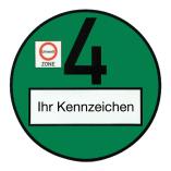 Feinstaubplaketten, Emissionsplaketten oder Umweltplaketten in grün hochwertig in Euroschrift bedruckt um Bußgelder in Umweltzonen zu vermeiden.